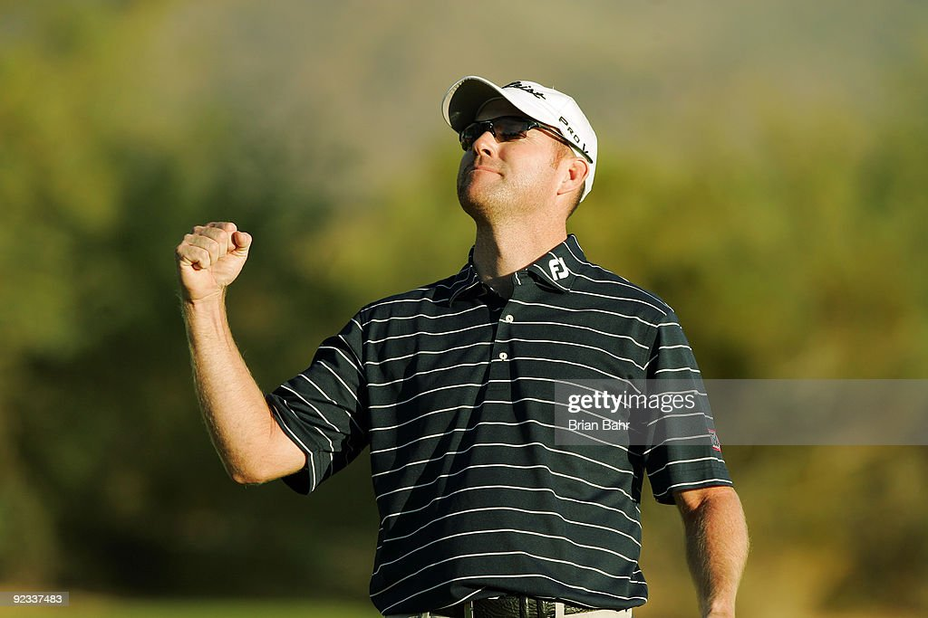 Troy Matteson celebrates after sinking his putt on the second hole of a twohole playoff to win the 2009 Fryscom Open on October 25 2009 at the...