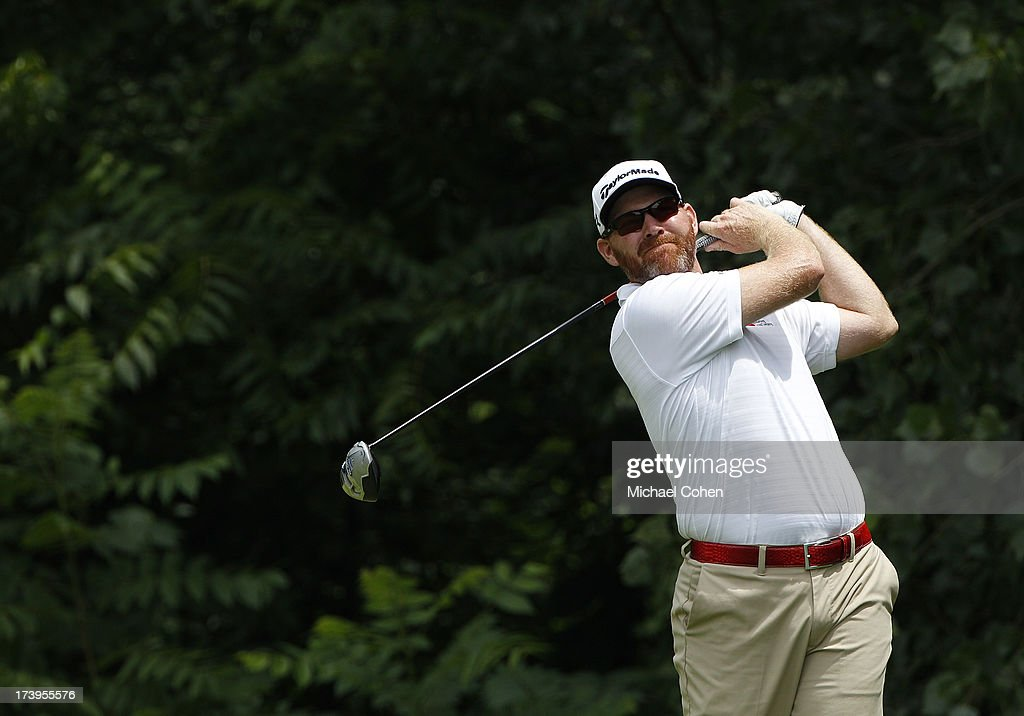 Troy Matteson hits a drive during the third round of the John Deere Classic held at TPC Deere Run on July 13 2013 in Silvis Illinois