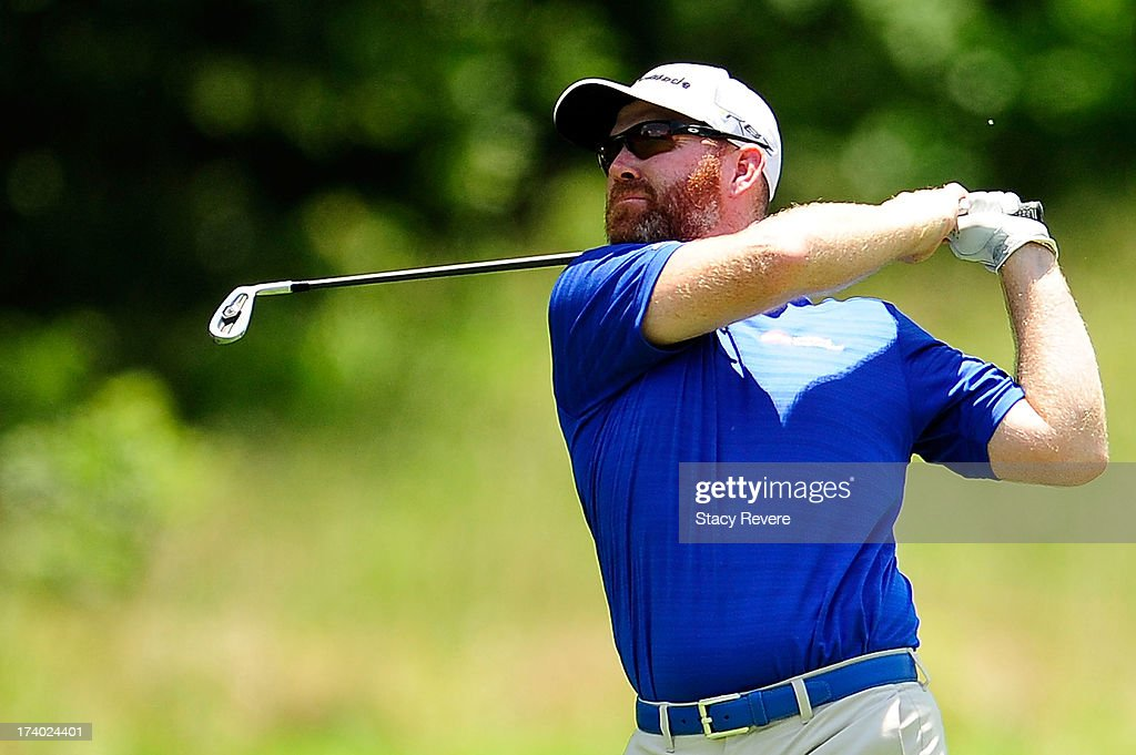 Troy Matteson hits his second shot on the fifth hole during the second round of the Sanderson Farms Championship at Annandale Golf Club on July 19...