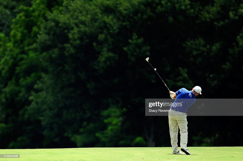 Troy Matteson hits his second shot on the seventh hole during the second round of the Sanderson Farms Championship at Annandale Golf Club on July 19...