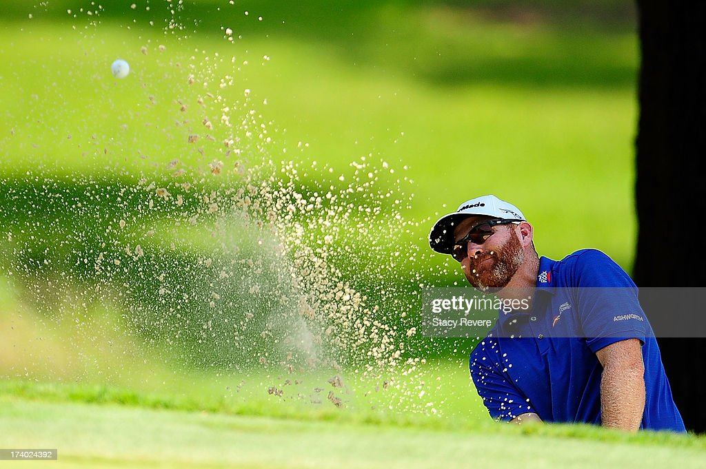 Troy Matteson hits his third shot on the fifth hole during the second round of the Sanderson Farms Championship at Annandale Golf Club on July 19...