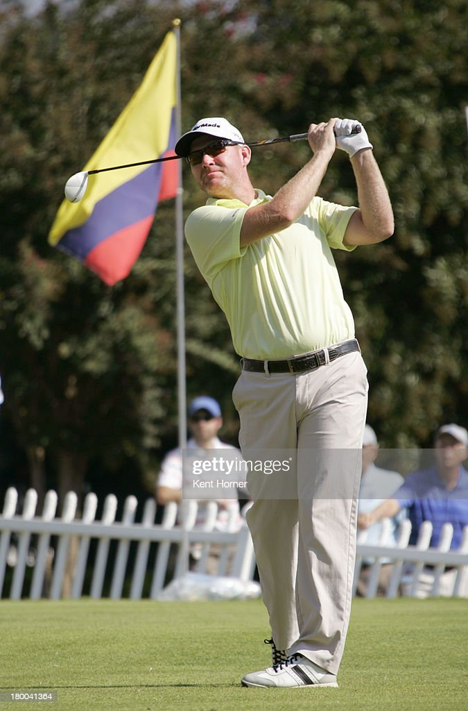 Troy Matteson hits the ball off the 1st tee during the final round of the Chiquita Classic in the Webcom tour finals at River Run Country Club on...
