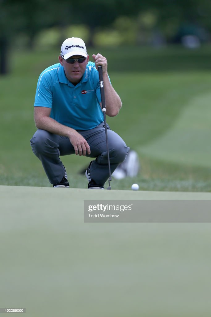 Troy Matteson lines up a putt on the first hole during the final round of the Greenbrier Classic at the Old White TPC on July 6 2014 in White Sulphur...