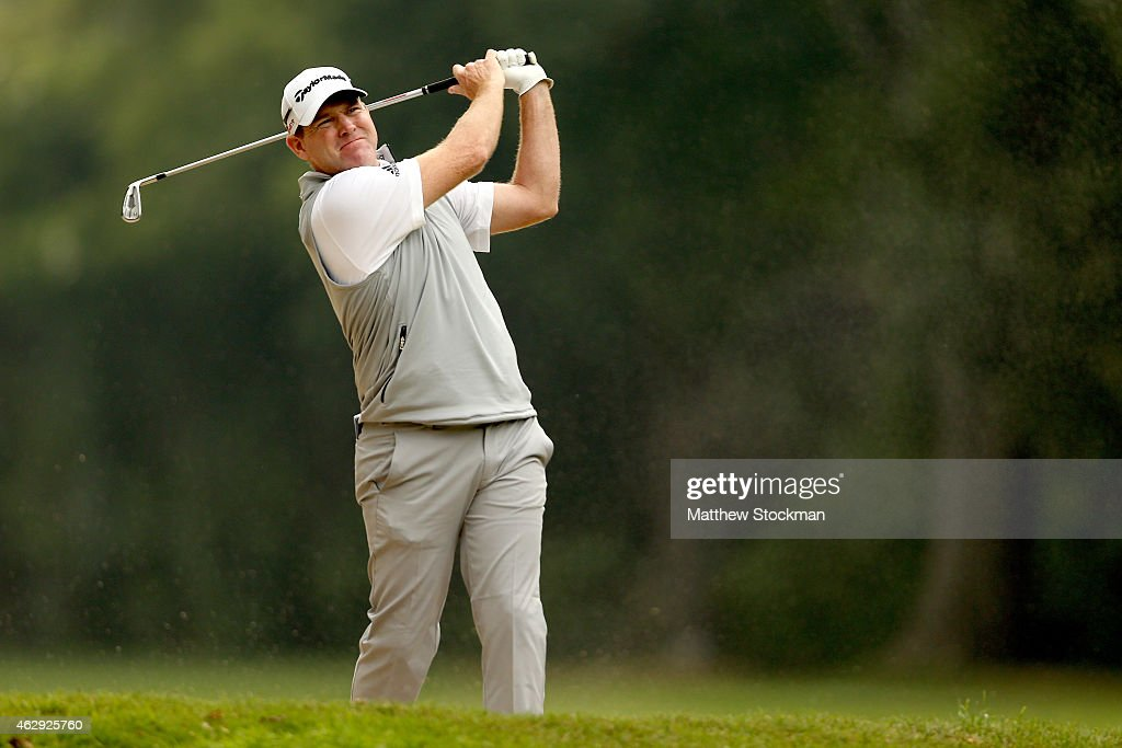 Troy Matteson of the United States hits out of a sand bunker on the 2nd fairway during the third round of the Colombia Championship presented by...