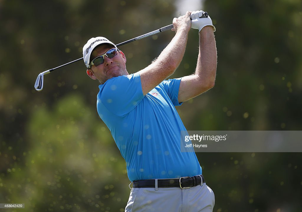 Troy Matteson of the United States watches his tee shot on the 17th hole during the second round of the Barracuda Championship at the Montreux Golf...