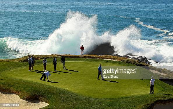 Troy Matteson play the seventh green during the first round of the ATT Pebble Beach National ProAm at Pebble Beach Golf Links on February 9 2012 in...