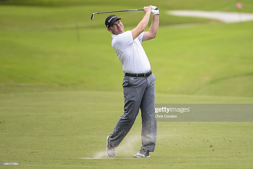 Troy Matteson plays a shot from the ninth hole fairway during the second round of the Webcom Tour Championship at TPC Sawgrass Dye's Valley Course on...