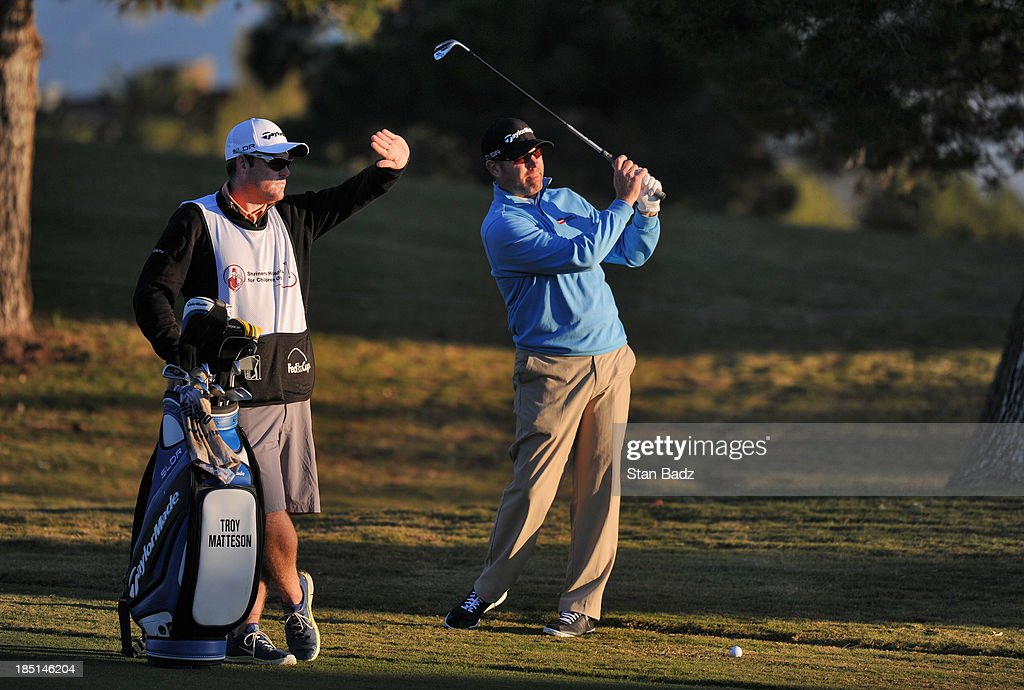 Troy Matteson plays a shot on the first hole during the first round of the Shriners Hospitals for Children Open at TPC Summerlin on October 17 2013...
