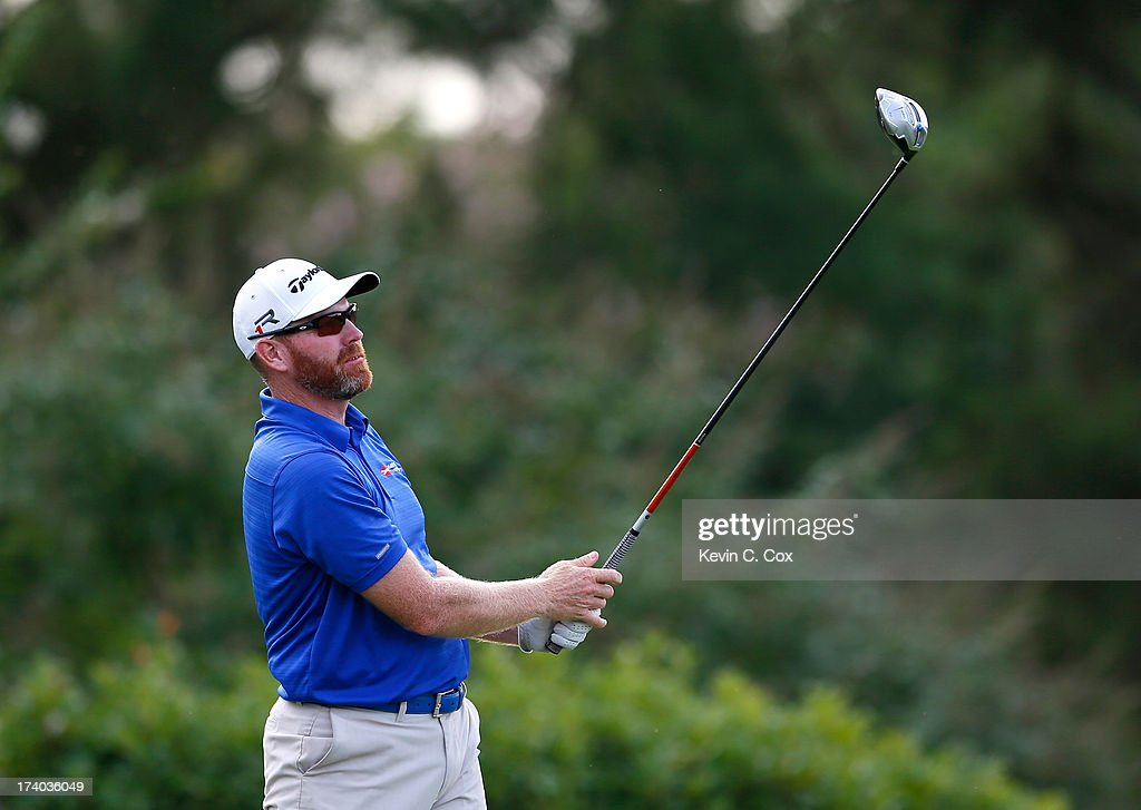 Troy Matteson tees off the 18th hole during the second round of the Sanderson Farms Championship at Annandale Golf Club on July 19 2013 in Madison...