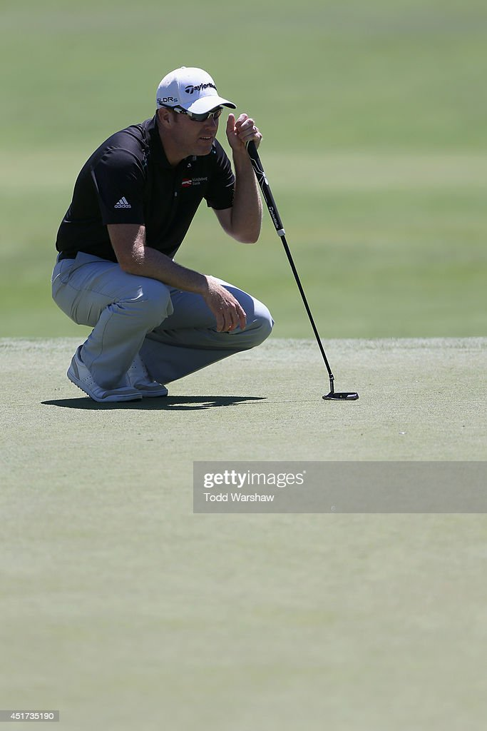 Troy Matteson waits to putt on the second hole during the third round of the Greenbrier Classic at the Old White TPC on July 5 2014 in White Sulphur...