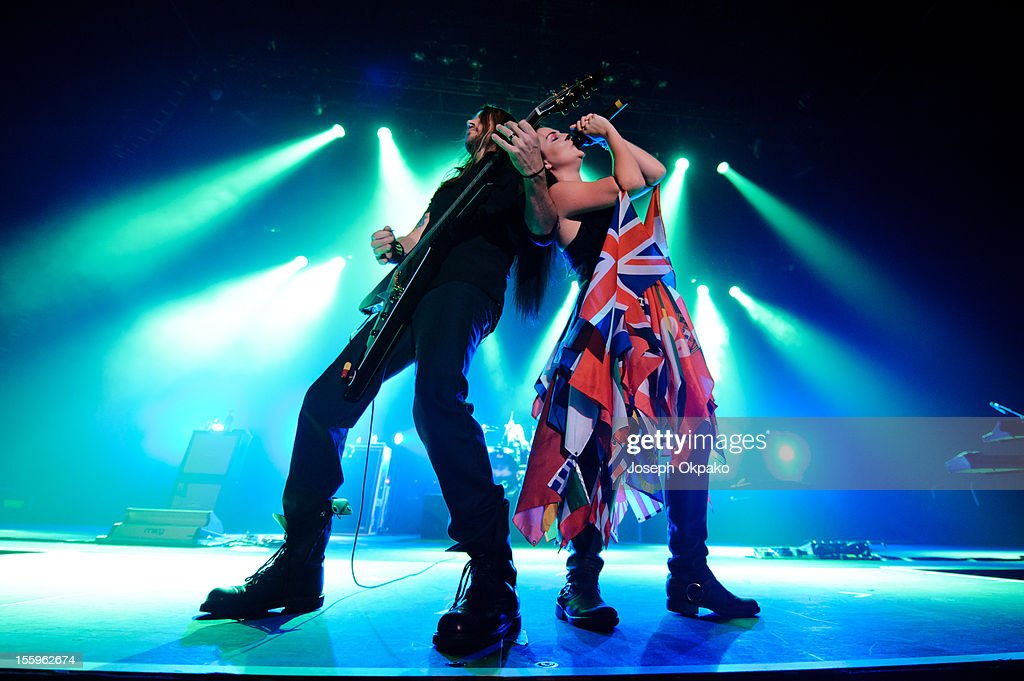 Troy McLawhorn and Amy Lee of Evanescence performs on stage at Wembley Arena on November 9, 2012 in London, United Kingdom.
