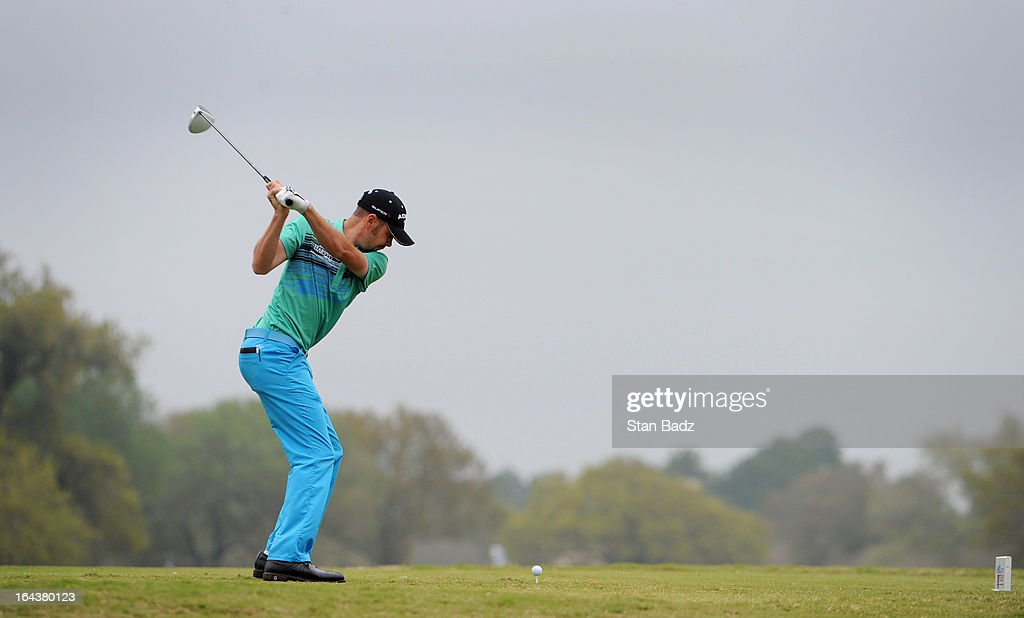Troy Merritt hits a drive on the seventh hole during the third round of the Chitimacha Louisiana Open at Le Triomphe Country Club on March 23, 2013 in Broussard, Louisiana.