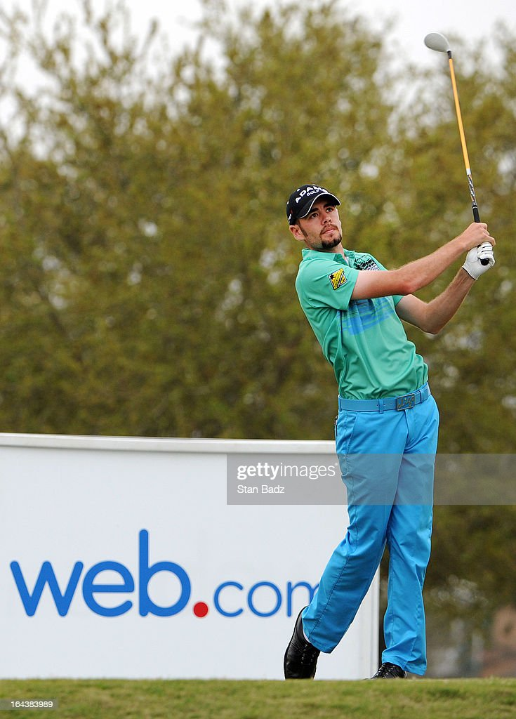 Troy Merritt hits a drive on the tenth hole during the third round of the Chitimacha Louisiana Open at Le Triomphe Country Club on March 23, 2013 in Broussard, Louisiana.