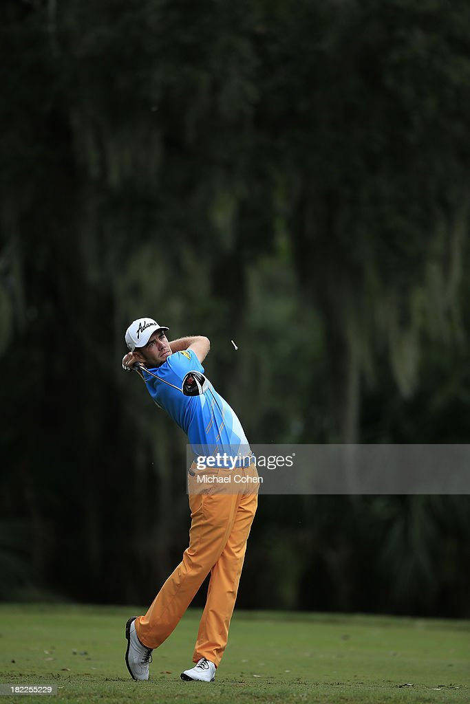 Troy Merritt hits his drive on the third hole during the third round of the Web.com Tour Championship held on the Dye's Valley Course at TPC Sawgrass on September 28, 2013 in Ponte Vedra Beach, Florida.