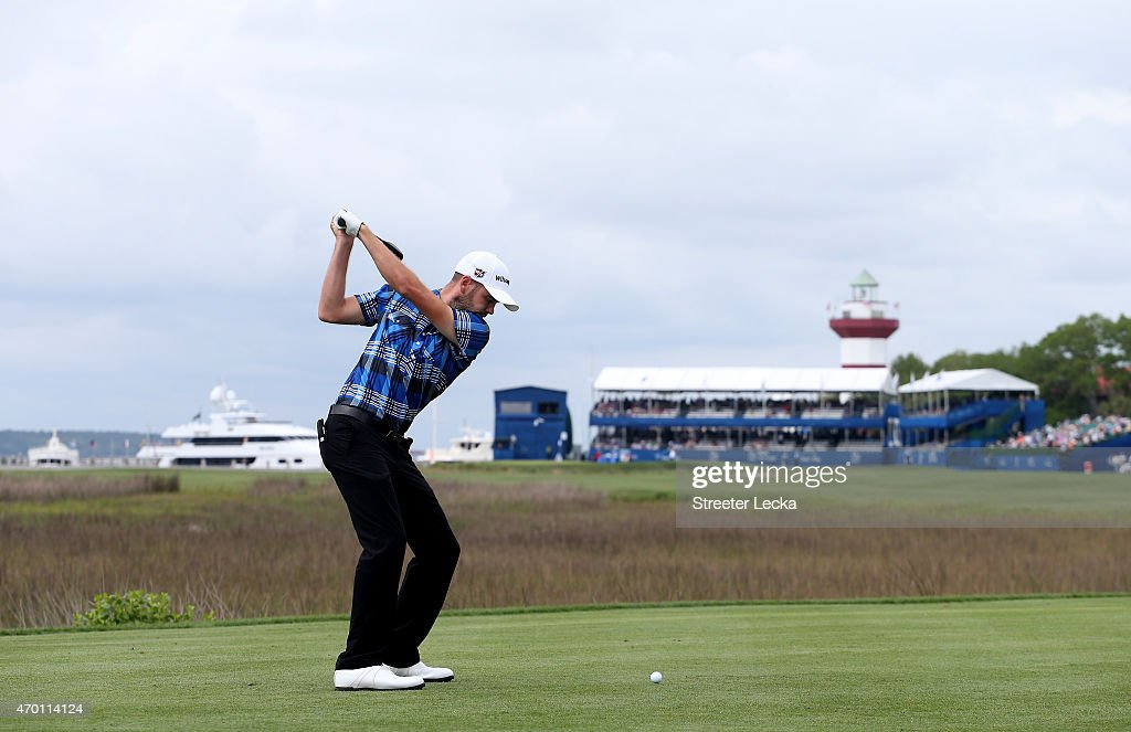 Troy Merritt hits his tee shot on the 18th hole during the second round of the RBC Heritage at Harbour Town Golf Links on April 17, 2015 in Hilton Head Island, South Carolina.