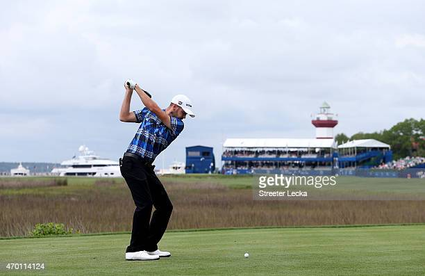 Troy Merritt hits his tee shot on the 18th hole during the second round of the RBC Heritage at Harbour Town Golf Links on April 17 2015 in Hilton...