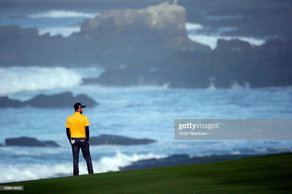 <a gi-track='captionPersonalityLinkClicked' href=/galleries/search?phrase=Troy+Merritt&family=editorial&specificpeople=5861930 ng-click='$event.stopPropagation()'>Troy Merritt</a> looks on from the 10th fairway during the second round of the AT&T Pebble Beach National Pro-Am at the Pebble Beach Golf Links on February 12, 2016 in Pebble Beach, California.