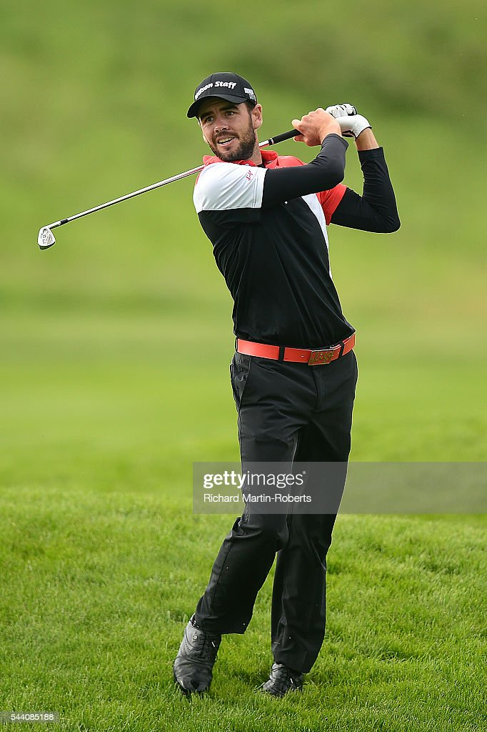 Troy Merritt of the United States hits his 2nd shot on the 17th hole during the second round of the 100th Open de France at Le Golf National on July 1, 2016 in Paris, France.