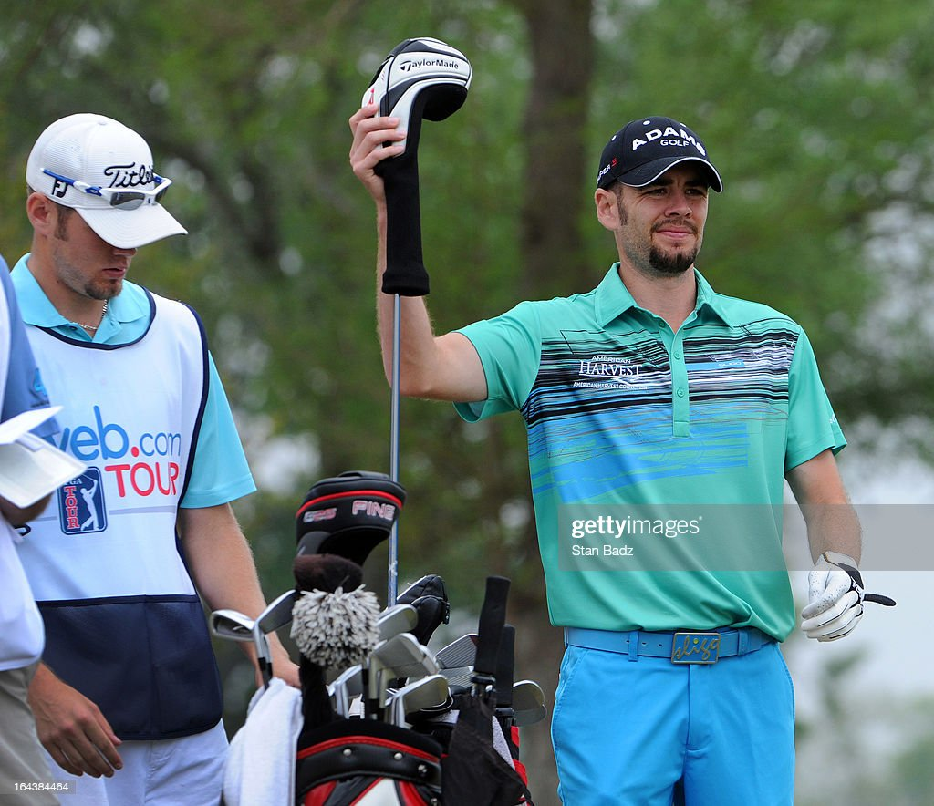 Troy Merritt selects a club on the fourth hole during the third round of the Chitimacha Louisiana Open at Le Triomphe Country Club on March 23, 2013 in Broussard, Louisiana.