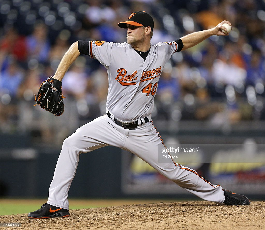 Troy Patton #40 of the Baltimore Orioles throws in the ninth inning during a game against the Kansas City Royals at Kauffman Stadium on July 22, 2013 in Kansas City, Missouri.