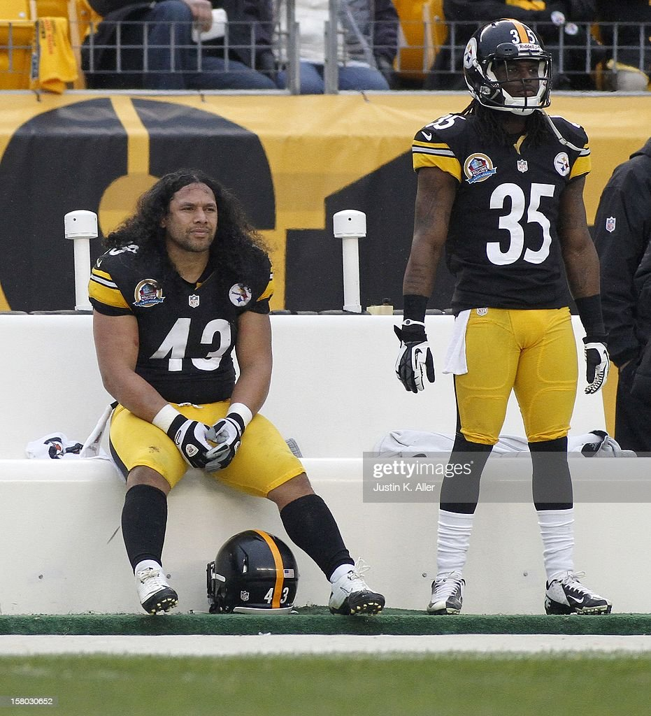 Troy Polamalu #43 of the Pittsburgh Steelers looks on from the bench during the game against the San Diego Chargers on December 9, 2012 at Heinz Field in Pittsburgh, Pennsylvania.