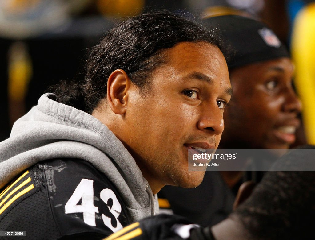 <a gi-track='captionPersonalityLinkClicked' href=/galleries/search?phrase=Troy+Polamalu&family=editorial&specificpeople=206488 ng-click='$event.stopPropagation()'>Troy Polamalu</a> #43 of the Pittsburgh Steelers looks on from the sideline during the third quarter against the Buffalo Bills at Heinz Field on August 16, 2014 in Pittsburgh, Pennsylvania.