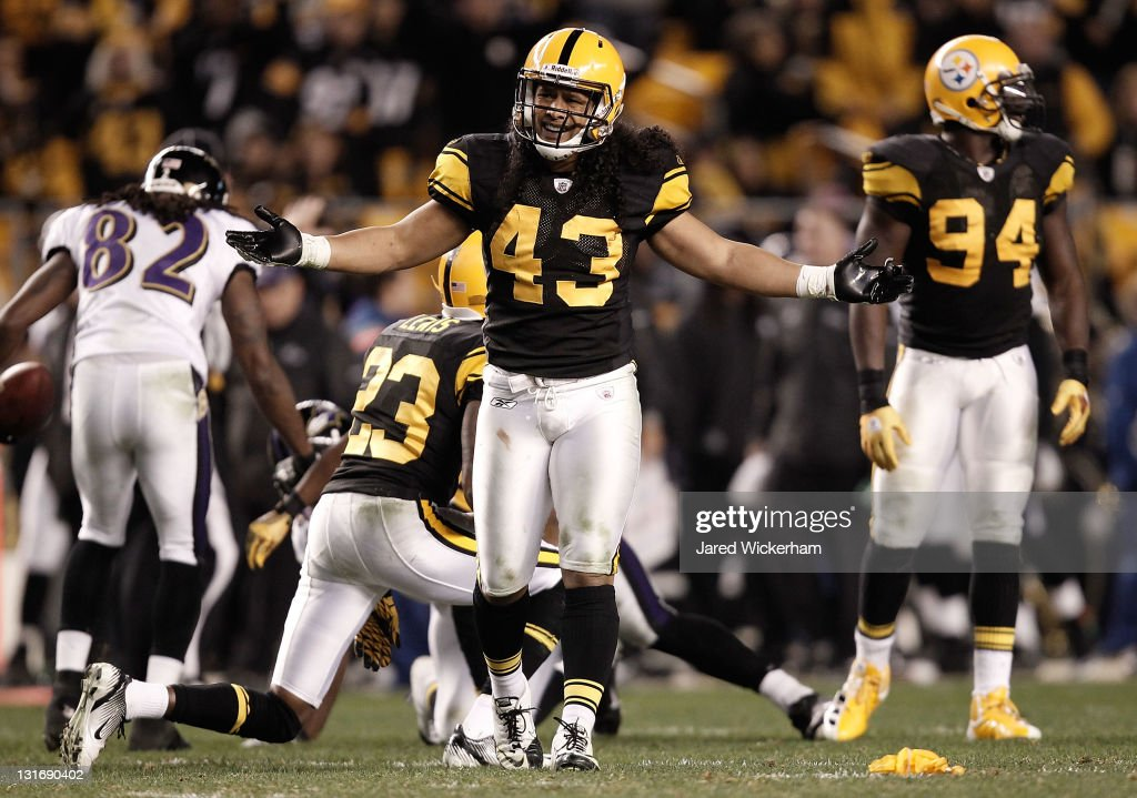 <a gi-track='captionPersonalityLinkClicked' href=/galleries/search?phrase=Troy+Polamalu&family=editorial&specificpeople=206488 ng-click='$event.stopPropagation()'>Troy Polamalu</a> #43 of the Pittsburgh Steelers questions a penalty on the field against the Baltimore Ravens during the game on November 6, 2011 at Heinz Field in Pittsburgh, Pennsylvania.