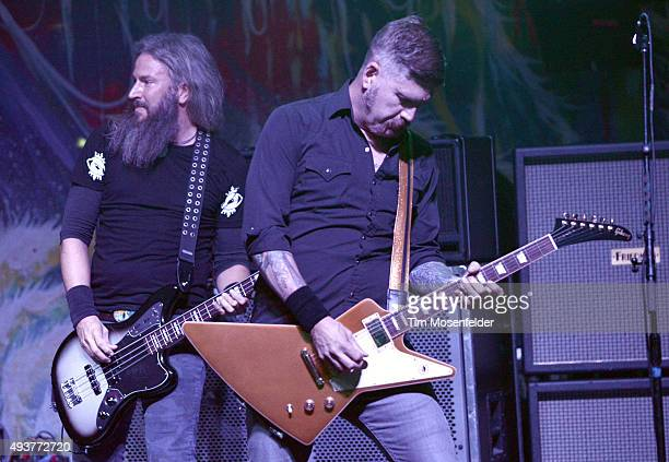 Troy Sanders and Bill Kelliher of Mastodon perform in support of the band's 'Once More 'Round the Sun' release at The Warfield Theater on October 20...