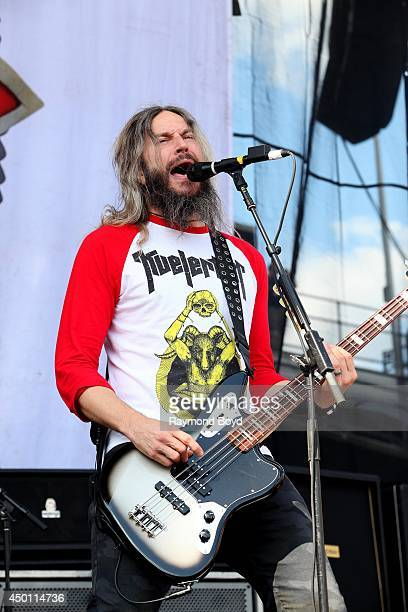 Troy Sanders from Mastodon performs at Columbus Crew Stadium on May 18 2014 in Columbus Ohio