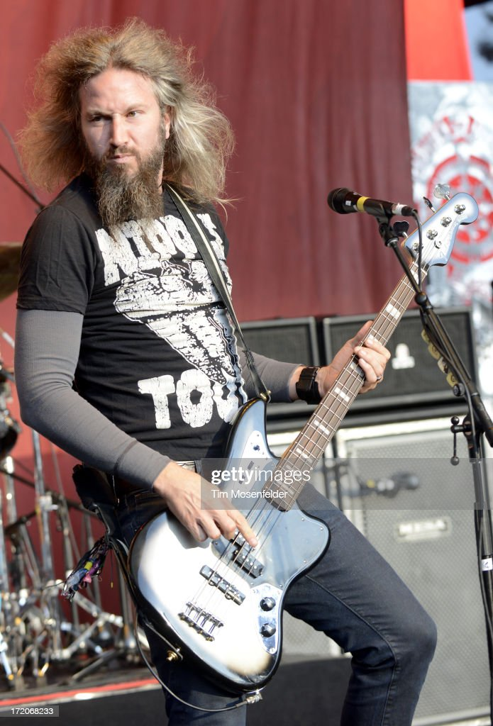 Troy Sanders of Mastadon performs as part of the Rockstar Energy Drink Mayhem Festival at Shoreline Amphitheatre on June 30, 2013 in Mountain View, California.