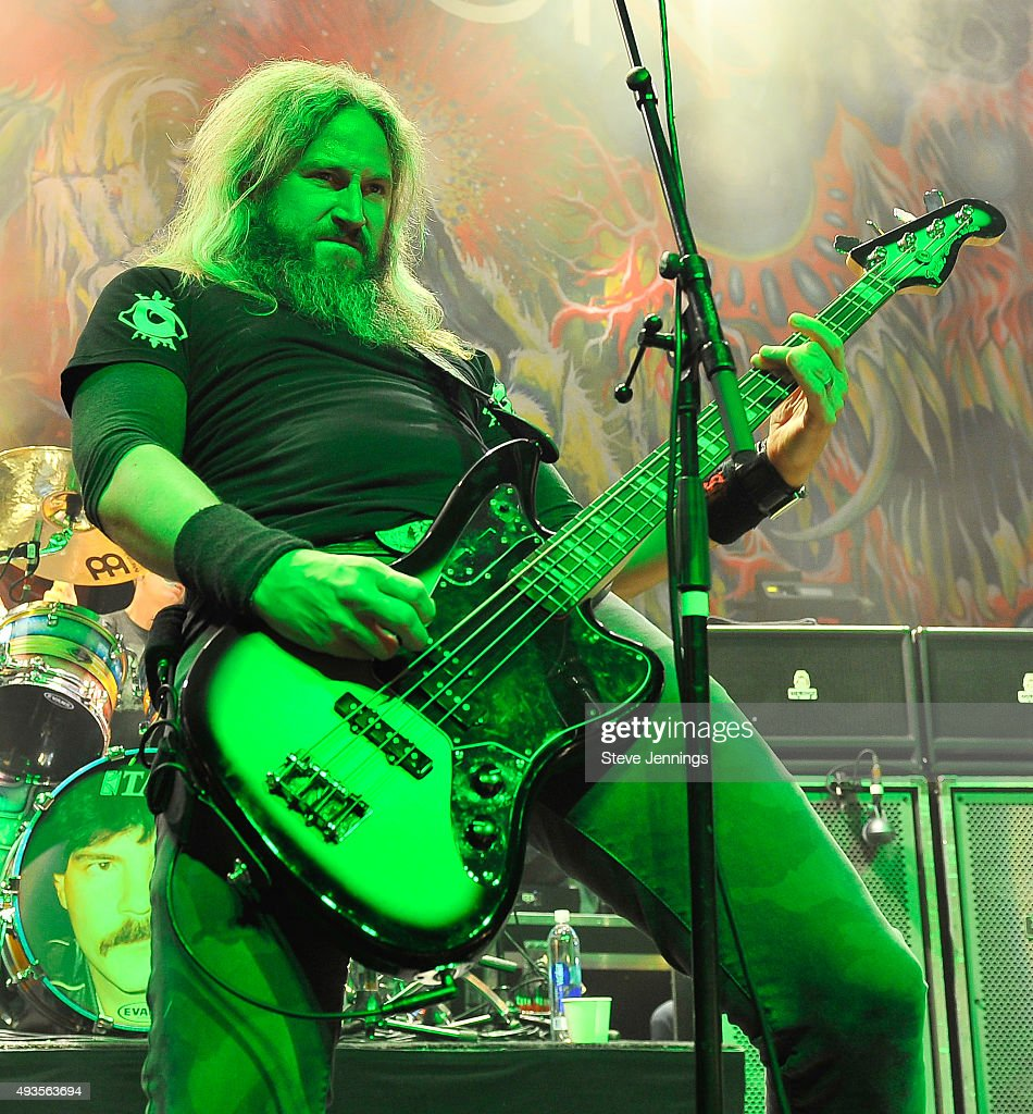 Troy Sanders of Mastodon performs at The Warfield Theater on October 20, 2015 in San Francisco, California.