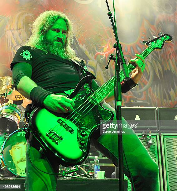 Troy Sanders of Mastodon performs at The Warfield Theater on October 20 2015 in San Francisco California