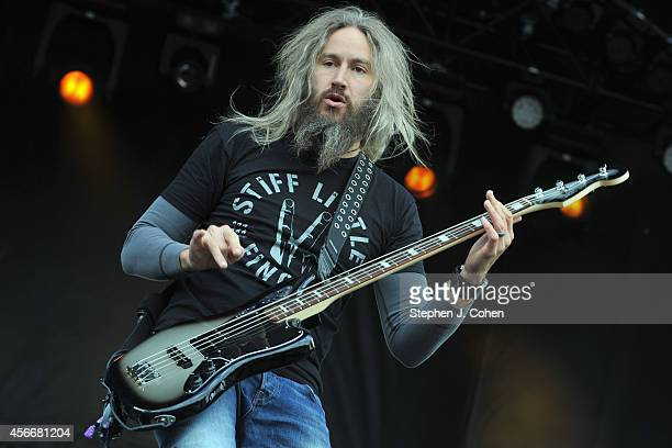 Troy Sanders of Mastodon performs during the 2014 Louder Than Life Festival at Champions Park on October 4 2014 in Louisville Kentucky