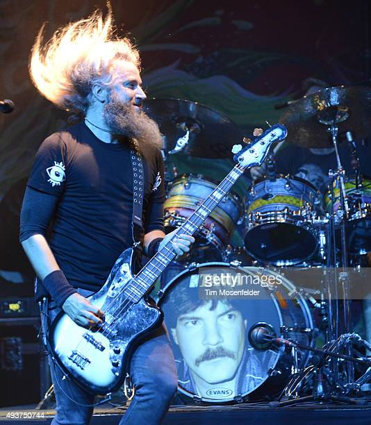 Troy Sanders of Mastodon performs in support of the band's 'Once More 'Round the Sun' release at The Warfield Theater on October 20 2015 in San...