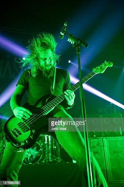 Troy Sanders of Mastodon performs on stage at Razzmatazz on January 24 2012 in Barcelona Spain