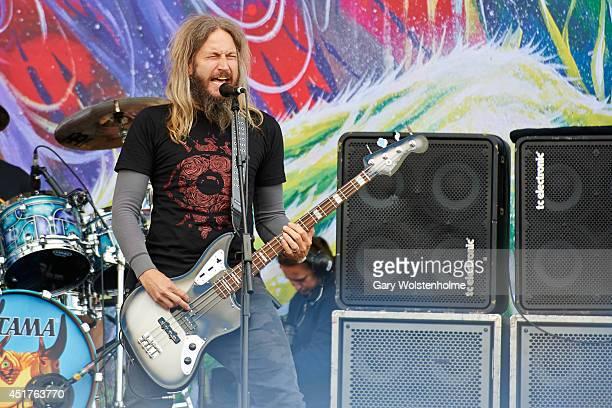 Troy Sanders of Mastodon performs on stage at Sonisphere at Knebworth Park on July 6 2014 in Knebworth United Kingdom