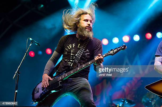 Troy Sanders of Mastodon performs on stage during the second day of Azkena Rock Festival at Recinto Mendizabala on June 20 2015 in VitoriaGasteiz...