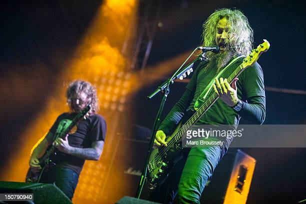 Troy Sanders of Mastodon performs on the NME/Radio 1 stage during Day 2 of Reading Festival at Richfield Avenue on August 25 2012 in Reading United...