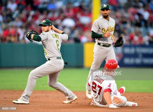 Troy Scribner of the Los Angeles Angels pitches to the Oakland Athletics during the first inning at Angel Stadium of Anaheim on August 4 2017 in...