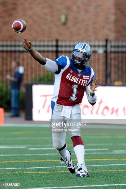 Troy Smith of the Montreal Alouettes passes the ball during the CFL game against the Edmonton Eskimos at Percival Molson Stadium on August 8 2014 in...