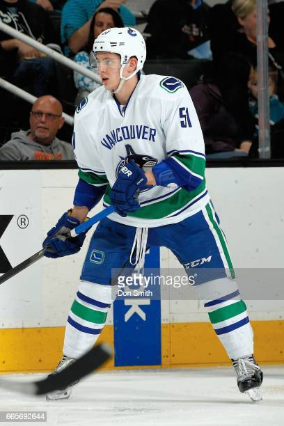 Troy Stecher of the Vancouver Canucks looks during a NHL game against the San Jose Sharks at SAP Center at San Jose on April 4 2017 in San Jose...