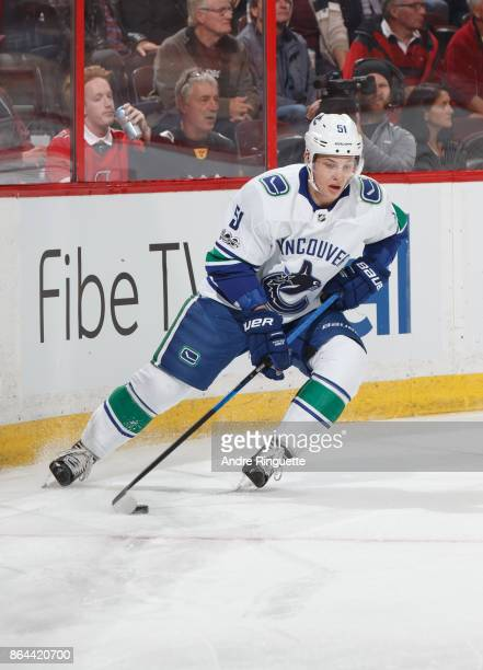 Troy Stecher of the Vancouver Canucks skates against the Ottawa Senators at Canadian Tire Centre on October 17 2017 in Ottawa Ontario Canada