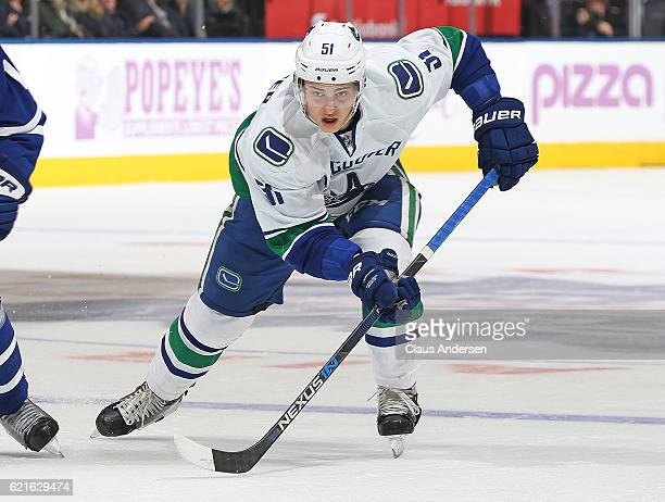 Troy Stecher of the Vancouver Canucks skates against the Toronto Maple Leafs during an NHL game at the Air Canada Centre on November 5 2016 in...