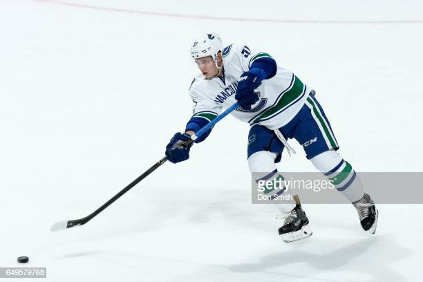 Troy Stecher of the Vancouver Canucks skates during a NHL game against the San Jose Sharks at SAP Center at San Jose on March 2 2017 in San Jose...
