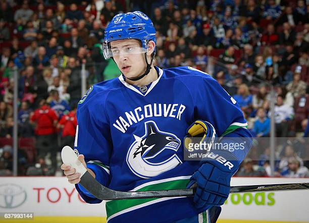 Troy Stecher of the Vancouver Canucks skates up ice during their NHL game against the Arizona Coyotes at Rogers Arena January 4 2017 in Vancouver...