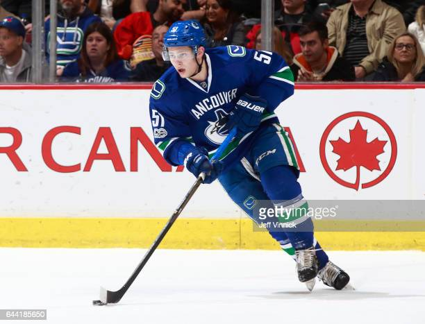 Troy Stecher of the Vancouver Canucks skates up ice during their NHL game against the Philadelphia Flyers at Rogers Arena February 19 2017 in...