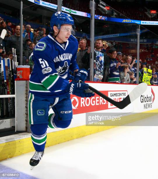 Troy Stecher of the Vancouver Canucks steps onto the ice during their NHL game against the Los Angeles Kings at Rogers Arena March 31 2017 in...