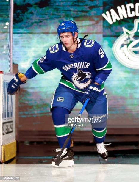 Troy Stecher of the Vancouver Canucks steps onto the ice during their NHL game against the Edmonton Oilers at Rogers Arena October 7 2017 in...