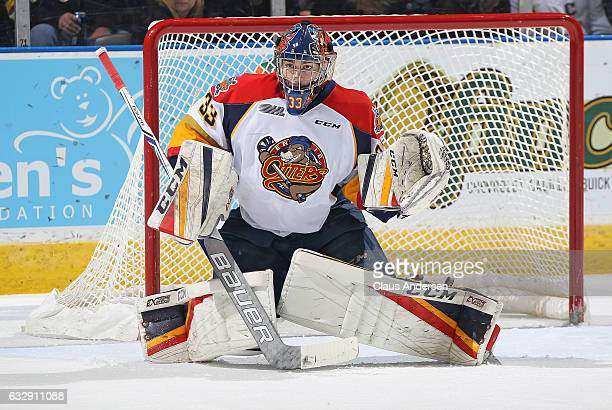 Troy Timpano of the Erie Otters gets set to face a shot against the London Knights during an OHL game at Budweiser Gardens on January 27 2017 in...