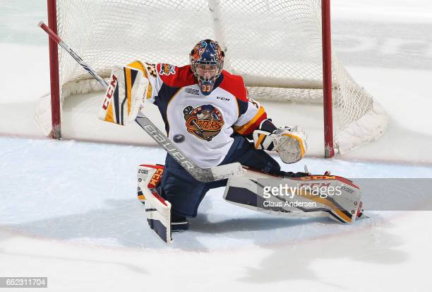 Troy Timpano of the Erie Otters knocks the puck away against the London Knights during an OHL game at Budweiser Gardens on March 10 2017 in London...